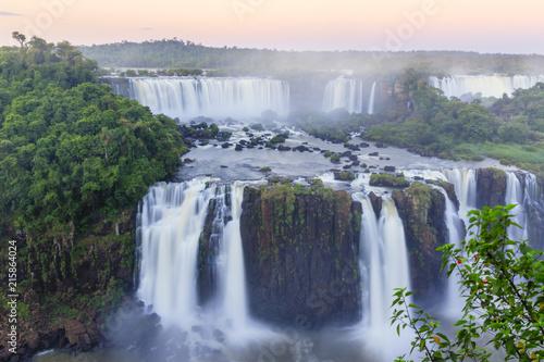 View of the Iguassu (Iguazu) (Iguacu) Falls, a waterfall on the border of Brazil and Argentina - 215864024