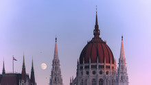 Panoramic Of The Dome And Spire Of Parliament Building, Budapest, Hungary