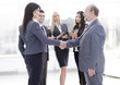 handshake of a businessman and business woman