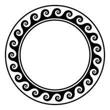 Black Circle Frame With Running Dot Pattern. Seamless Spiral Meander Design. Waves Shaped Into Repeated Motif. Scroll Pattern. Decorative Border. Also Called Vitruvian Wave Or Vitruvian Scroll. Vector