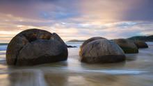Moeraki Boulders At Sunset, Ko...