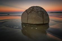 Moeraki Boulder At Sunset, Koekohe Beach, Moeraki Peninsula, Otago, South Island, New Zealand