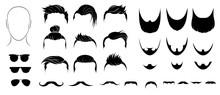 Set Of Mens Hairstyles, Beards...