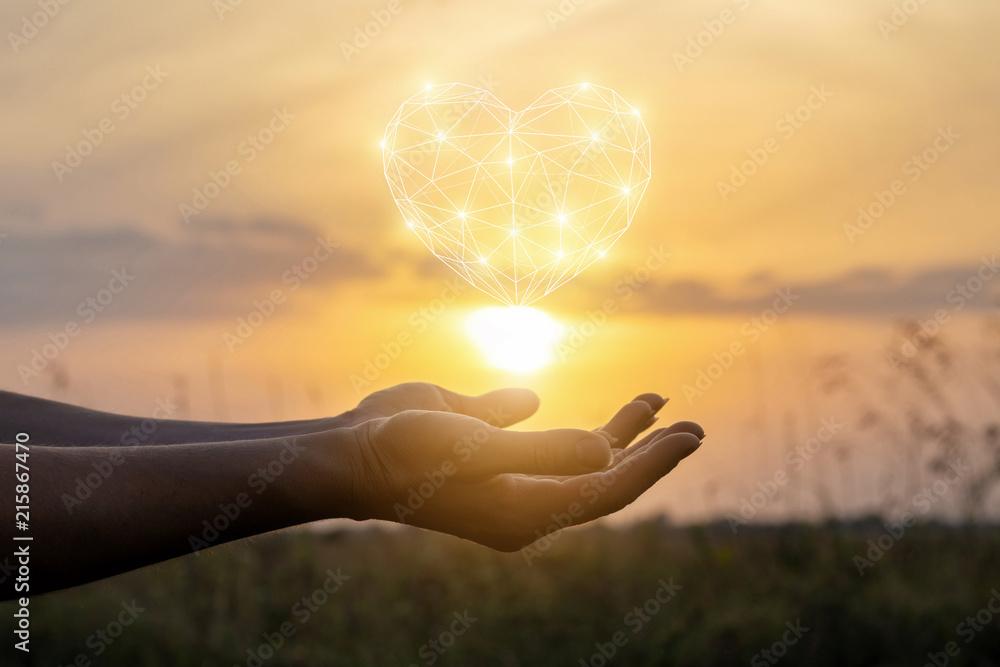 Fototapeta Heart in hand at sunset.