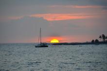 Sailboat At Anchor At Sunset K...