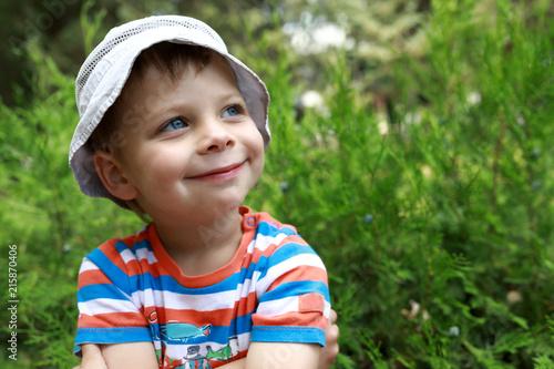 Smiling boy in park