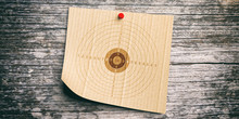 Shooting Target On Recycling Carton Paper, Wooden Wall Background. 3d Illustration