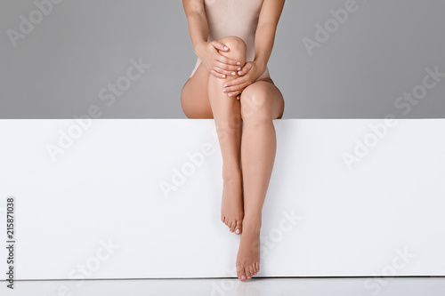beautiful woman with slim legs Canvas Print