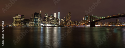 Fototapety, obrazy: The Brooklyn bridge from a nice perspective by night, New Yok, United States of America