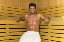 Smiling Man Having A Sauna Bat...