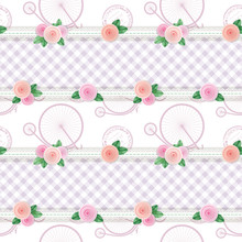 Shabby Chic Textile Pattern Background. Girly. Different Fabric Pieces Collage, Decorated With Lace And Roses. Raster