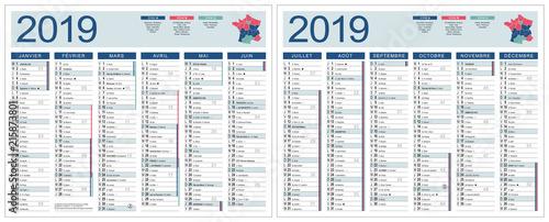 Calendrier Feries 2019.Calendrier 2019 Vectorise Base Pour 265x210mm Recto Verso