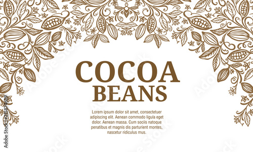 Fotografía Cacao beans plant, Vector exotic cacao plants
