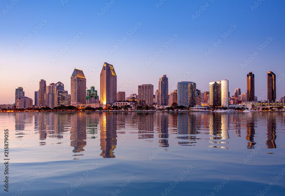 Fototapeta San Diego Skyline at sunset from Coronado