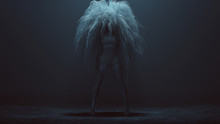 Evil Spirit In A Foggy Void And A Bad Hair Day 3d Illustration