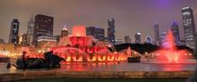Buckingham Fountain And The Chicago, Illinois Skyline At Night.