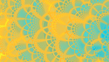 Graphics Fractal Lace Design In Yellow And Teal
