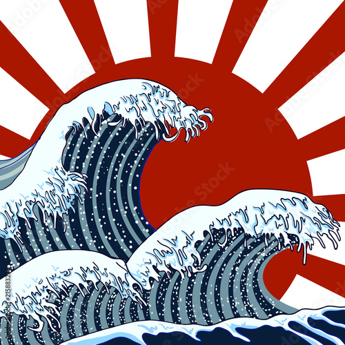 Valokuva  Vector Illustration: Oriental Waves, Storm Picture, Traditional Asian Art