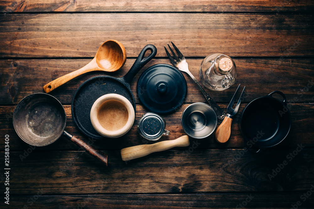 Fototapety, obrazy: Top view of wooden rustic table with various kitchen utensils