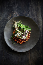 Fried Seabass With Beans And Greens