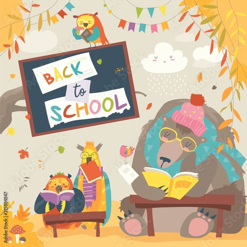 Cute bear and owls and reading books in autumn forest. Back to school