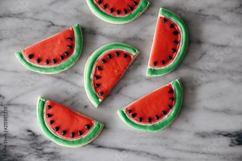 Poster Koekjes Watermelon slice cookies