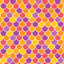 Vector Multicolor Scallops Scales Seamless Pattern Background