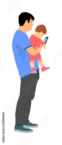 Fotografie, Obraz  Awkward clumsy father with baby in hand watching in phone vector illustration