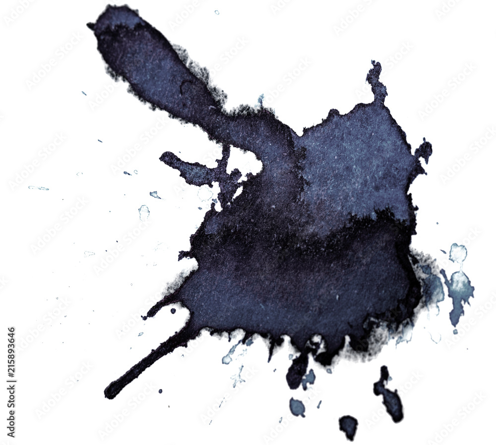 Fototapeta Ink Droplet Close-Up Isolated on White Background