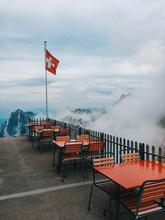 Traditional Mountain Refuge Restaurant In Switzerland On Foggy Summer Day