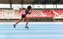 Black Athlete Woman On A Race ...