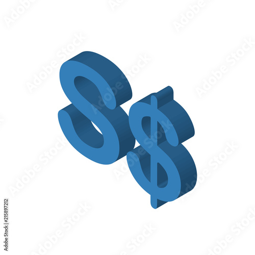 Singapore currency isometric right top view 3D icon - Buy