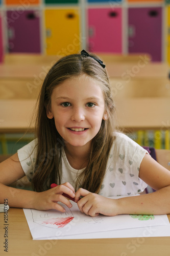 Portrait Of Elementary School Pupil At The Classroom