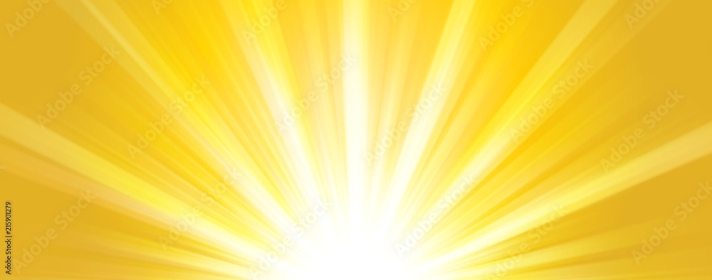 Fototapety, obrazy: Abstract  summer background. Shiny hot sun lights horizontal banner illustration with yellow and orange vibrant color tones.
