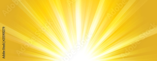 Fototapeta Abstract  summer background. Shiny hot sun lights horizontal banner illustration with yellow and orange vibrant color tones. obraz