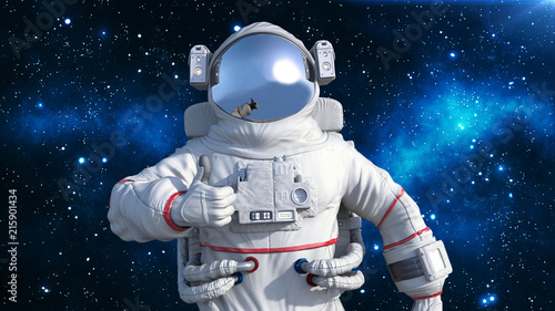 Photo Astronaut in spacesuit showing thumbs up, cosmonaut floating in space, close up