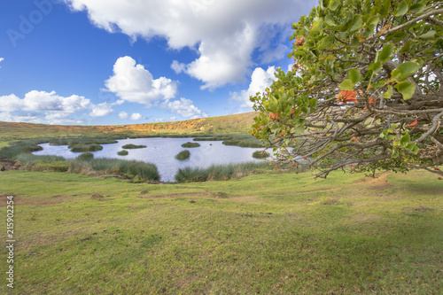Foto op Aluminium Rudnes Rano Raraku Crater Volcano, just a view over the crater lake, an amazing landscape with its vegetation, trees, water and wonderful sky