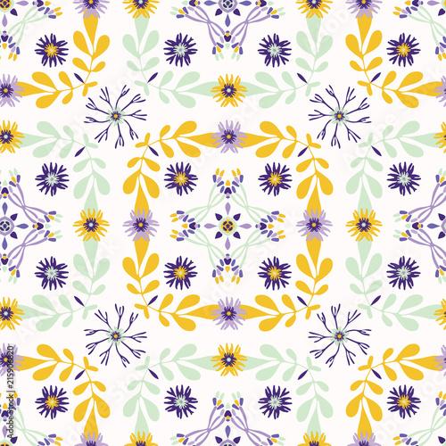 Fotografija  Floral Quilt Leaf Folk Vector Pattern, Hand Drawn Flower Seamless Background Nat