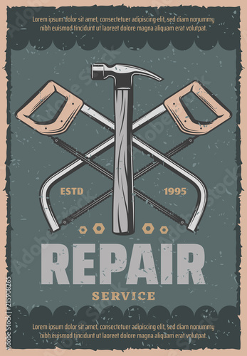 Vector retro poster of repair saw and hammer © Vector Tradition