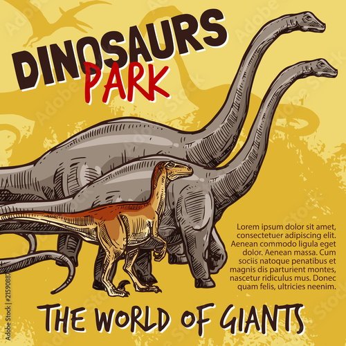 Vector sketch of dinosaurs park poster © Vector Tradition