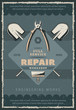 Vector retro poster, construction and repair tool