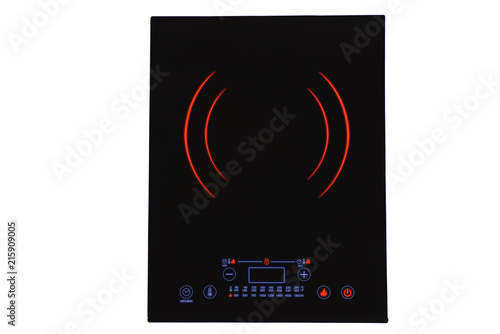Black portable induction cooktop, isolated on white background. Glowing neon light.