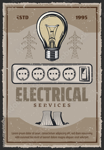 Electric socket and lightbulb vector retro poster © Vector Tradition