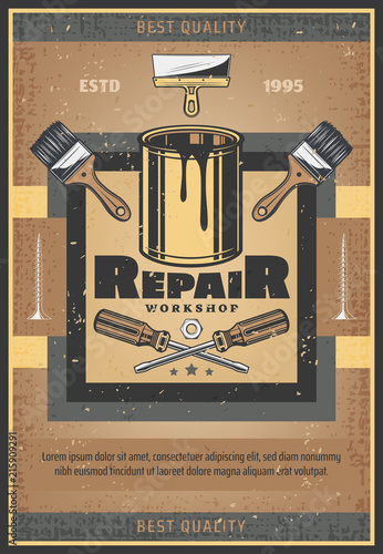 Repair tools and paint brush vector retro poster © Vector Tradition