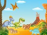 Fototapeta Dinusie - Cartoon happy dinosaurs with volcano