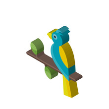 Parrot Isometric Right Top View 3D Icon