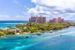 canvas print picture - Scenic view of an idyllic beach at Nassau, Bahamas, on Paradise Island. Caribbean and tropical beach scene at Nassau with white sand coastline and deep blue sea, Bahamas.