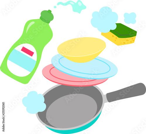 食器用洗剤と皿、フライパン Fototapet