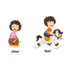Opposite Slow And Fast Vector Illustration