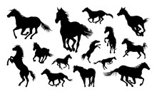 Horses Silhouette Set Vector Illustration, Collection Of Horse Silhouette